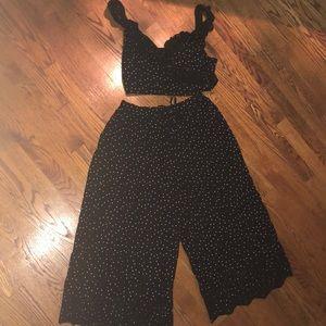 AE Polka Dot crop top and crop pants set